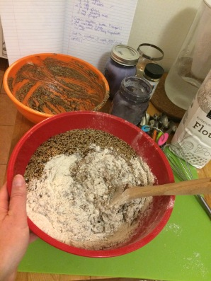 Slowly add dry ingredients to the wet bowl and mix with a wooden spoon (Don't use a whisk #trust)
